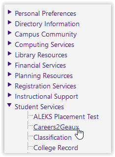 Student Services/Careers2Geaux button in moodle