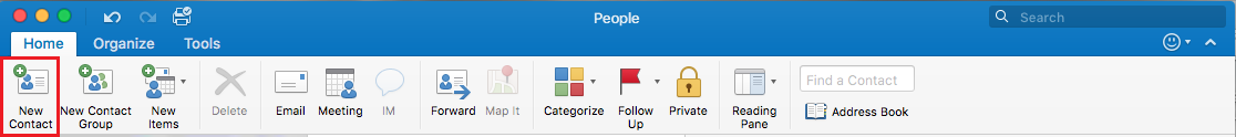 New Contact options on the toolbar in Outlook