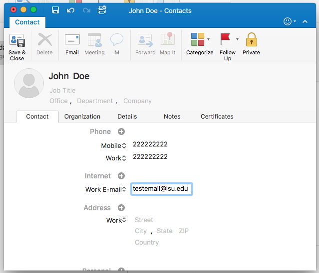 Window to edit contacts in Outlook 2016