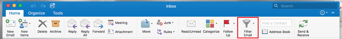 Filter Email icon on the Home Toolbar in Outlook 2016