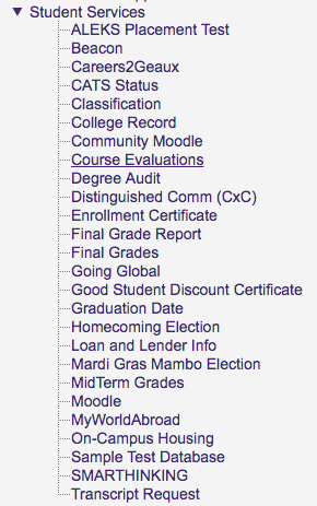 Student Services at myLSU Portal at the left hand side menu