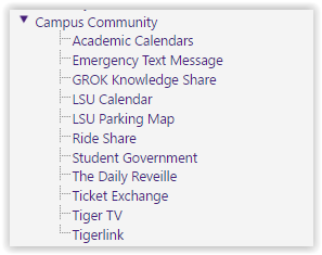 Campus Community drop down in myLSU