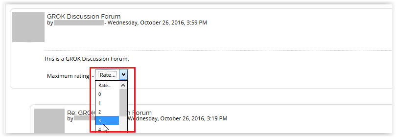 maximum rating function at the bottom of the forum post.