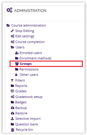 Groups option on the Users dropdown menu