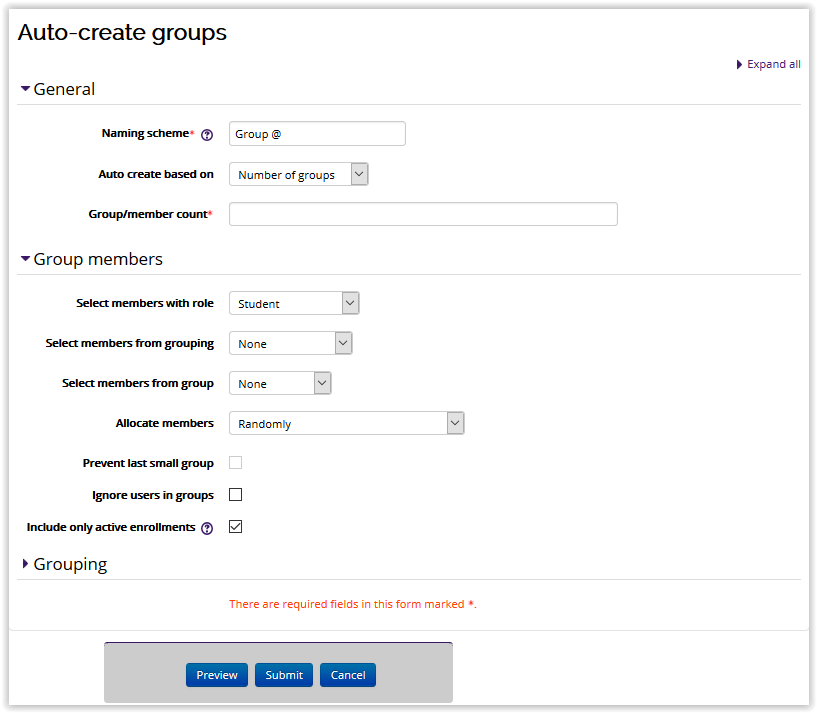 The general information tab for auto-creating groups.