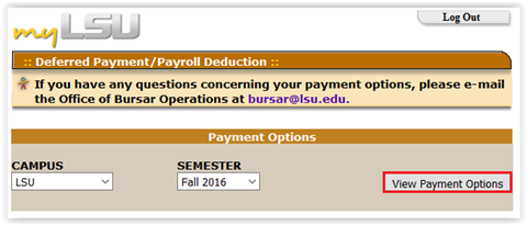 The view payment options button on the Deferred payment webpage