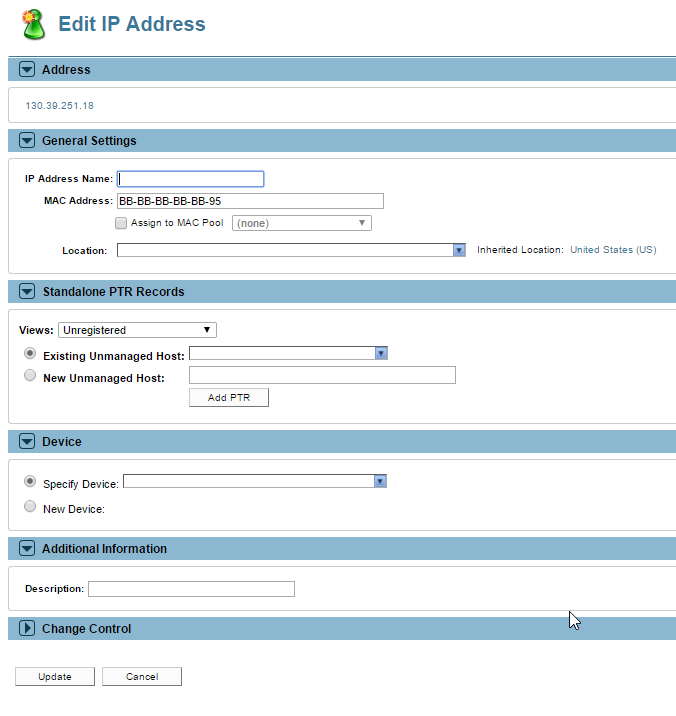 Fill out the fields to edit the IP Address