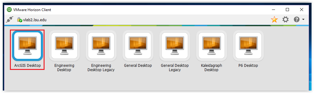 ArcGIS Desktop selected from the list of available desktops
