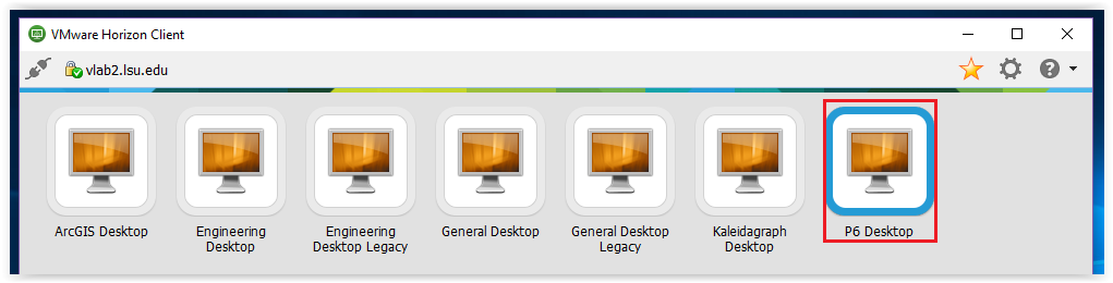 Logging into P6 Desktop from the list of available desktops