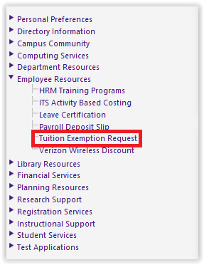 Tuition Exemption Request under Employee Resources