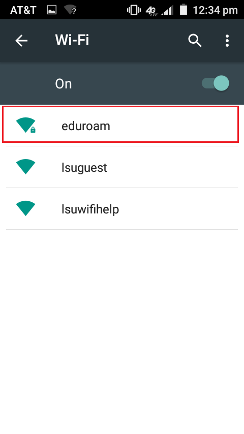 eduroam listed in the list of wifi networks