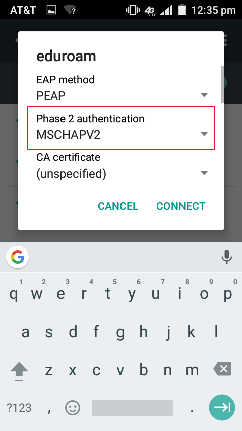 Selecting MSCHAPV2 in wifi settings