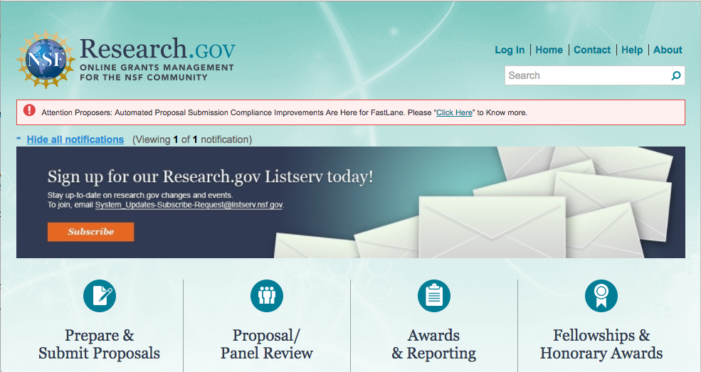 Research.gov homepage