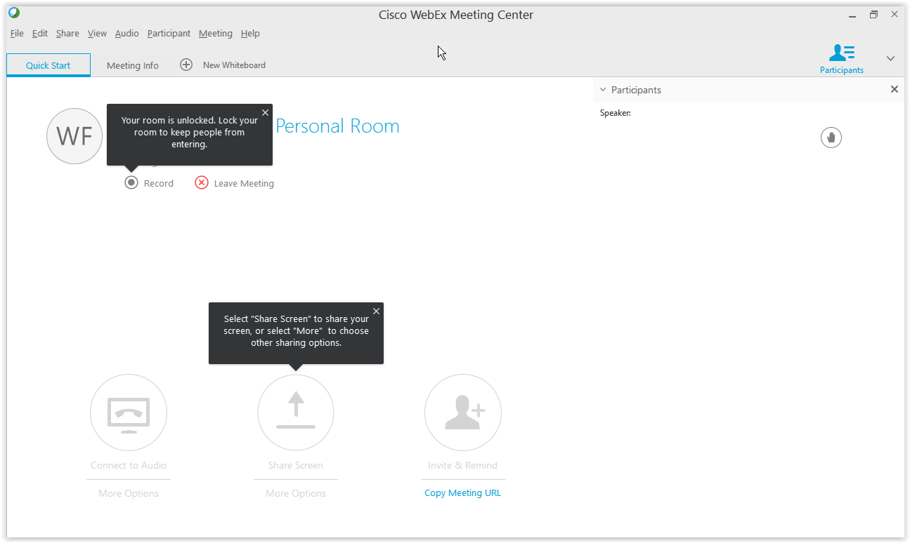 WebEx Meeting Center: Your Personal Room - GROK Knowledge Base