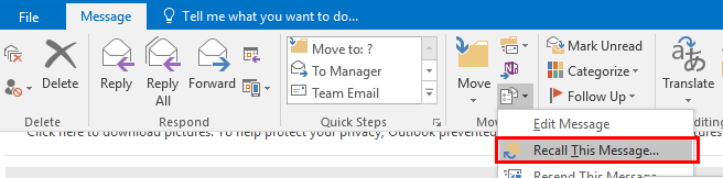 The Recall this message button in the more move actions dropdown menu