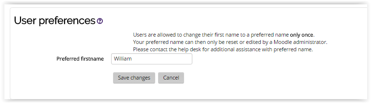 Preferred first name text box under user preferences section