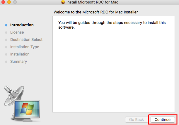 Installer window with welcome screen