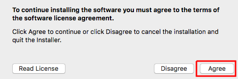 License agreement dialog box