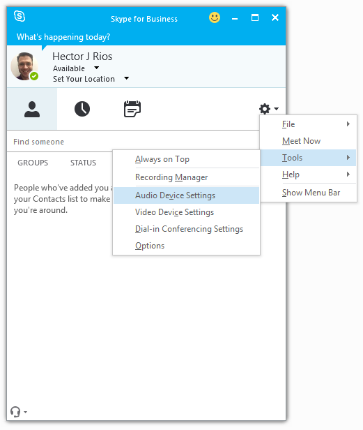 The tools menu in skype for business with Audio Device settings highlighted