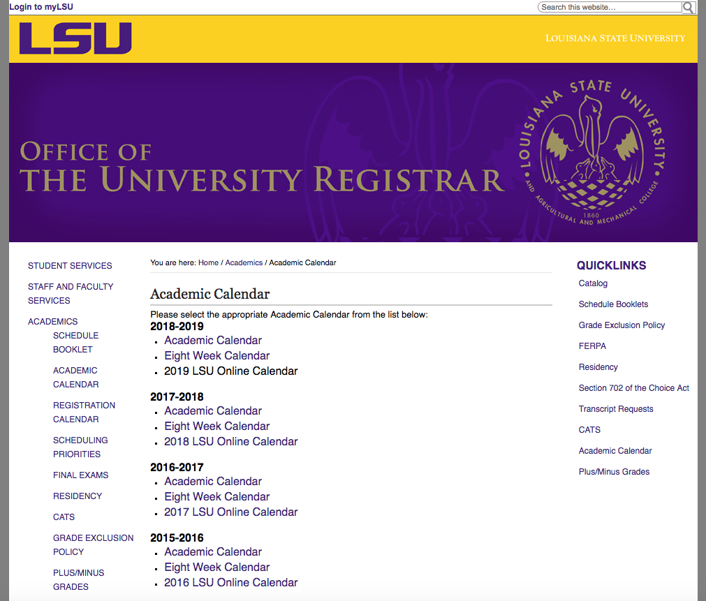 Lsu Academic Calendar 2019 myLSU Portal: Academic Calendar   GROK Knowledge Base