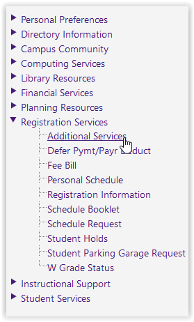 registration services/additional services button in mylsu