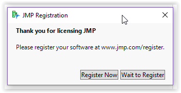 the Register Now button to activate JMP license