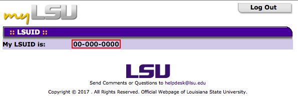 LSUID page with student number