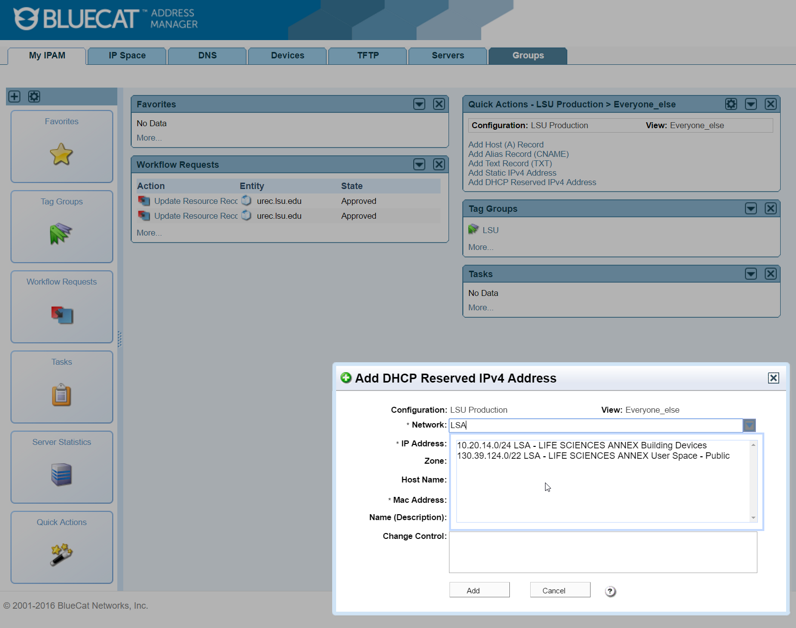 adding IP address to bluecat widget