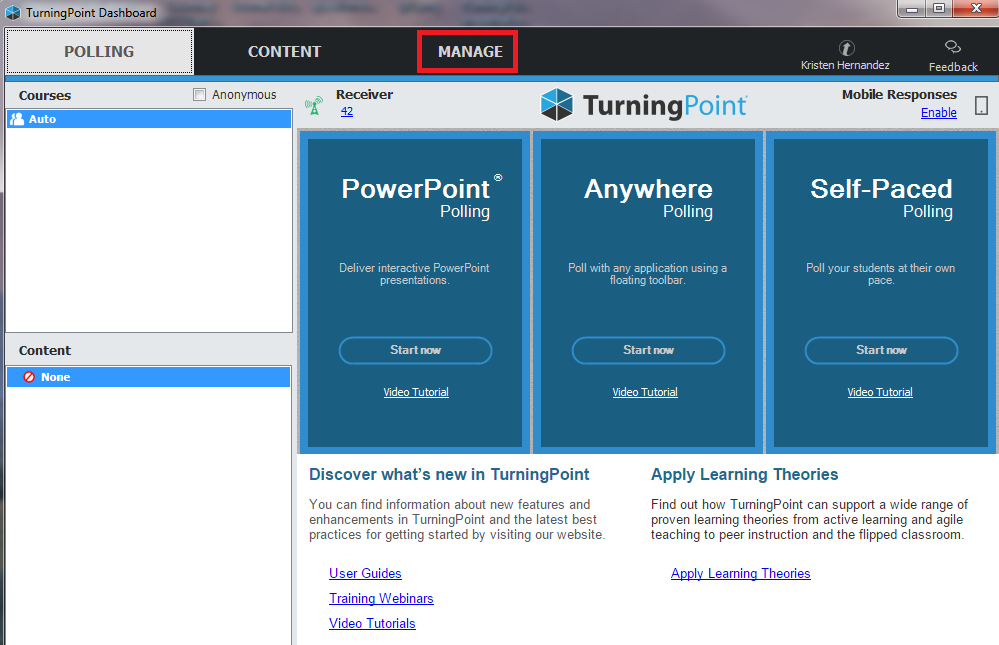 Turning Point dashboard Manage tab