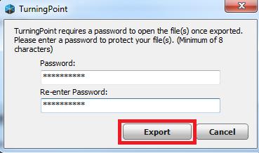 Enter and re-entering password for Export button