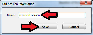 Session rename and save button