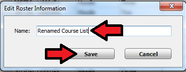 Course rename and save button