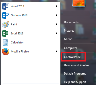 control panel link at right side of start menu