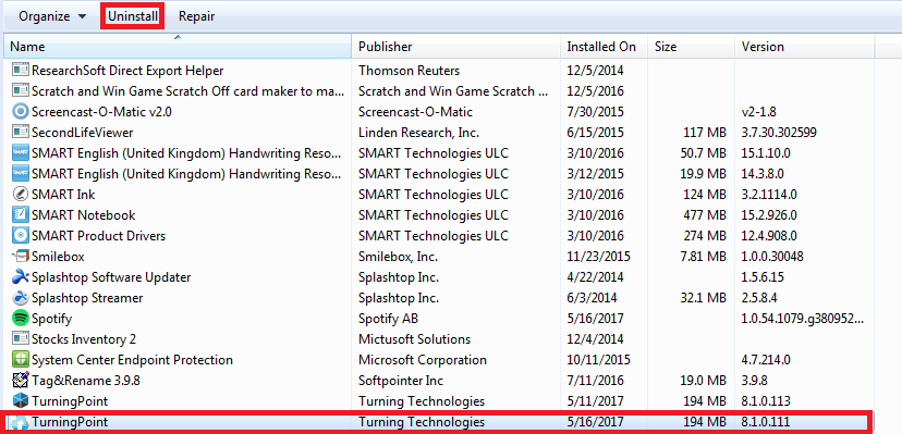 Uninstall in the windows program list at the top