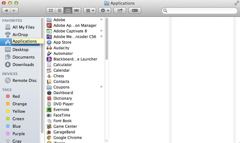Finder window with Applications selected in sidebar to the far left