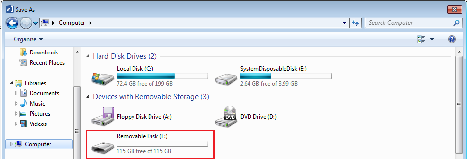 USB drive selected in the My Computer window
