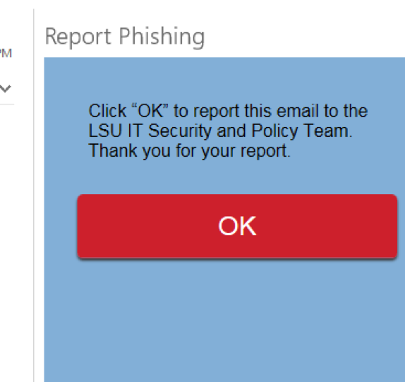 OK button in the Report phishing pop up