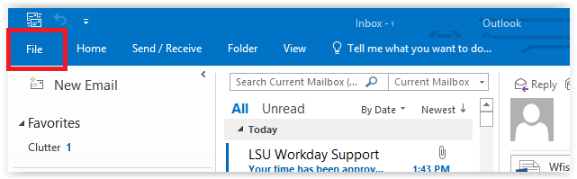 outlook control bar with file tab at top left