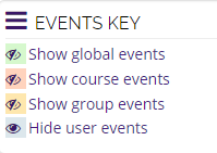 Calendar events key with all eye icons closed except user events