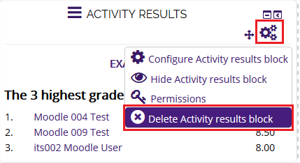 delete activity results block option