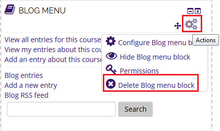 delete blog menu block