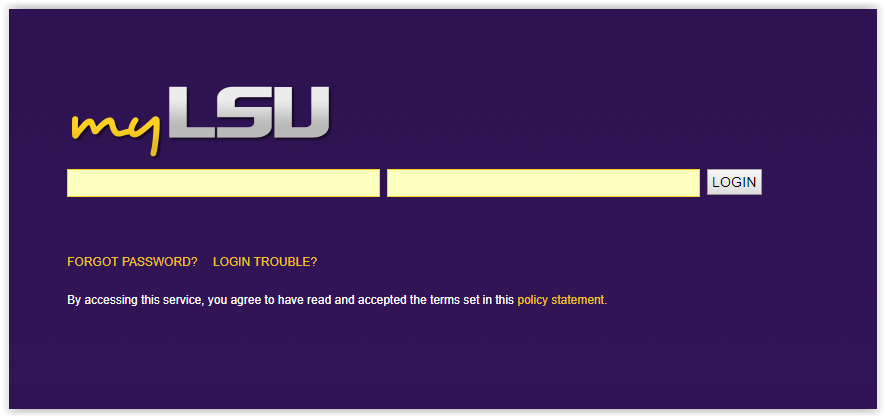logging in to myLSU