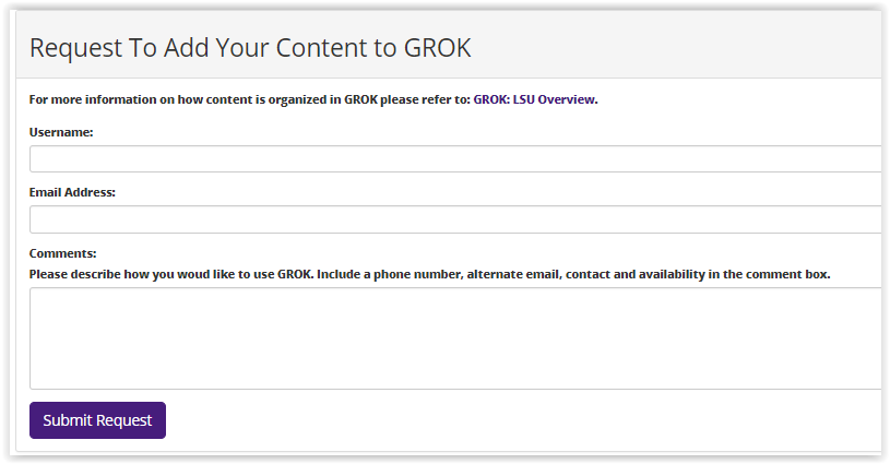 using the grok article request page