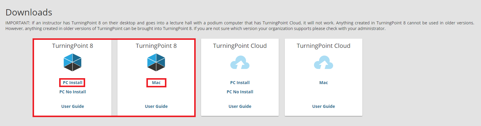PC or Mac install buttons for Turning Point