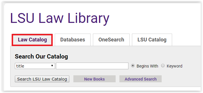 the catalog tab in LSU law library