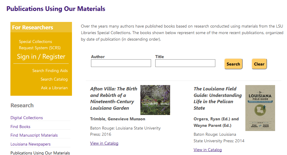 Publications Using Our Materials webpage
