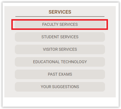 Faculty Services link under the Services section of Law Library page