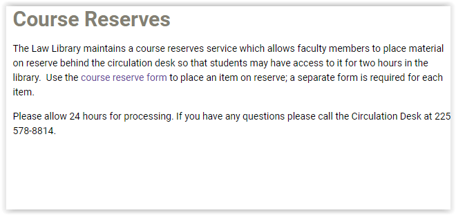 The course reserve form link highlighted in the paragraph