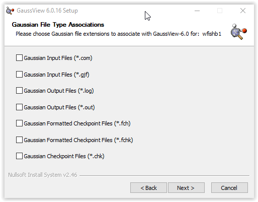 choosing gaussian file type extensions