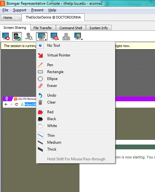 Drawing options in the top menu of the window